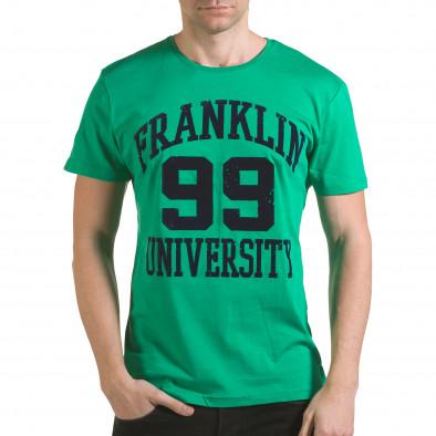 Мъжка зелена тениска с релефен надпис Franklin 99 il170216-1 2
