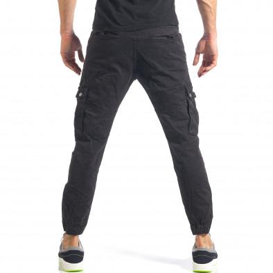 Мъжки черен карго панталон с ленти отстрани it290118-10 3