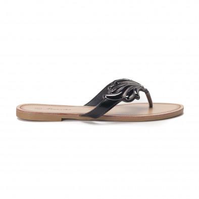 Дамски чехли с метална черна декорация it010618-15 2