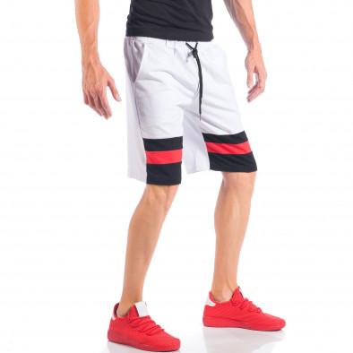 Бели мъжки шорти с ивици и метална звезда it050618-43 4