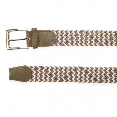 Мъжки плетен колан в бежово и бяло it250915-2 2