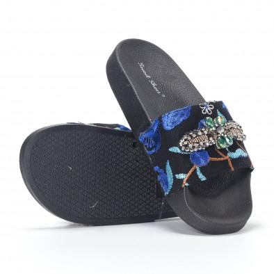 Дамски сини чехли с бродерии и камъни it230418-64 4