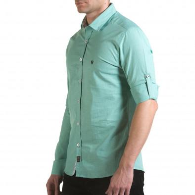 Мъжка зелена риза на много фини квадратчета Buqra 5