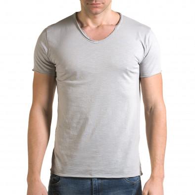 Мъжка сива тениска изчистен модел it090216-77 2
