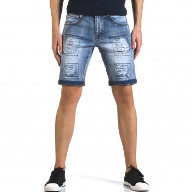 Мъжки къси дънки със скъсвания и кръпки it110316-71 2