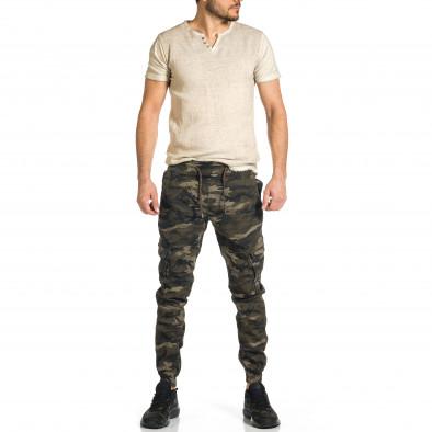 Мъжки карго панталон бежово-зелен камуфлаж tr270421-7 4