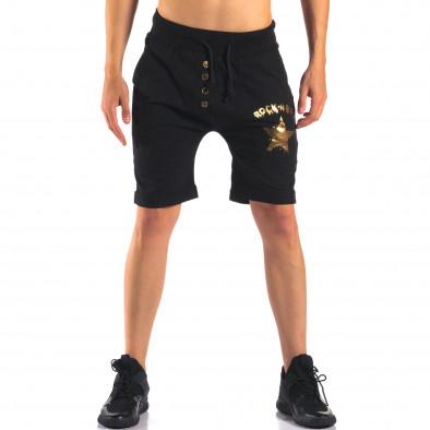 Мъжки черни шорти със златна звезда it160616-12 2
