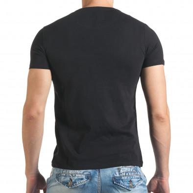 Мъжка черна тениска с рокерска щампа il140416-50 3