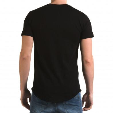 Мъжка черна издължена тениска със сива лента it090216-66 3