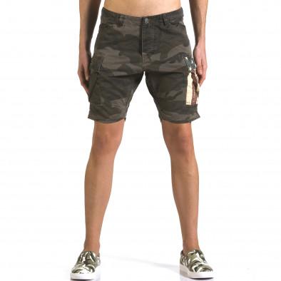 Мъжки къси панталони тъмно зелен камуфлаж it110316-55 2