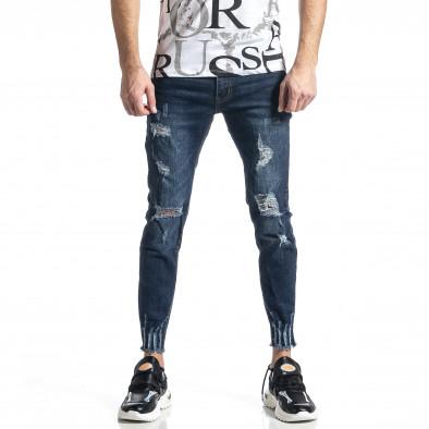 Мъжки сини дънки с прокъсвания Capri fit it010221-39 3