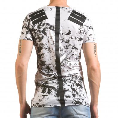 Бяла мъжка тениска с принтове удължена tsf060416-1 3