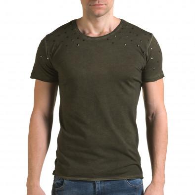 Мъжка зелена тениска с метални капси il120216-3 2
