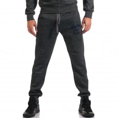 Мъжки сив спортен комплект с надпис New York it210916-2 5