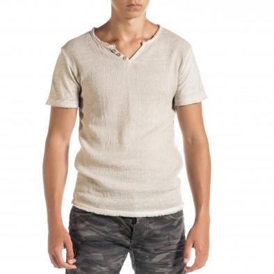 Мъжка тениска от памук и лен в бежово it010720-28 2