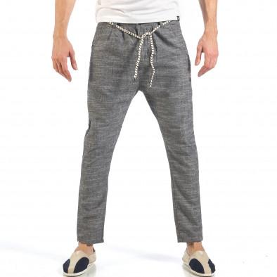 Мъжки сиви леки панталони с колан шнур it260318-109 2