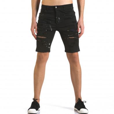 Мъжки черни къси дънки с пръски боя it110316-59 2