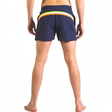 Тъмно сини бански шорти с джобове и бандаж ca050416-6 3