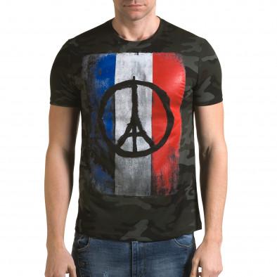 Мъжка тениска тъмно зелен камуфлаж с принт it090216-64 2
