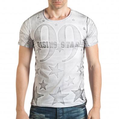 Удължена бяла тениска с принт звезди и номер il140416-15 2