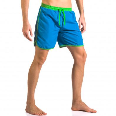 Светло сини мъжки бански шорти с джобове Yaliishi 5