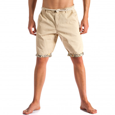 Мъжки сиви къси панталони с въжен колан ca090514-5 2