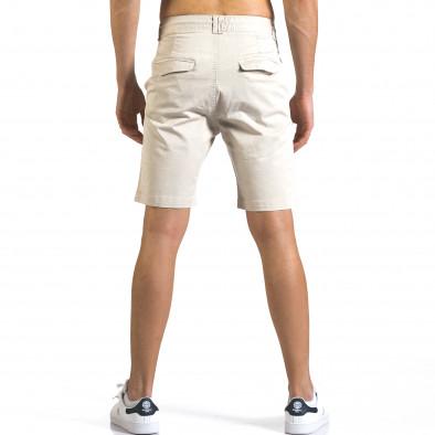 Мъжки бежови къси панталони с връзки it110316-40 3