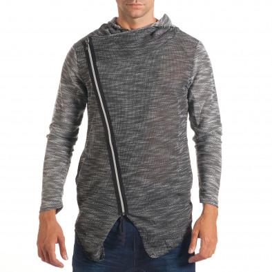 Мъжки тъмно сив суичър с асиметрична кройка it240816-2 2