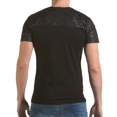 Мъжка черна тениска с камуфлажна част на раменете SAW 4