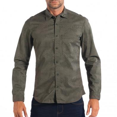 Regular риза RESERVED в зелено с дребен десен lp070818-112 2