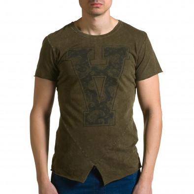 Мъжка зелена асиметрична тениска с обърната буква А ca190116-46 2