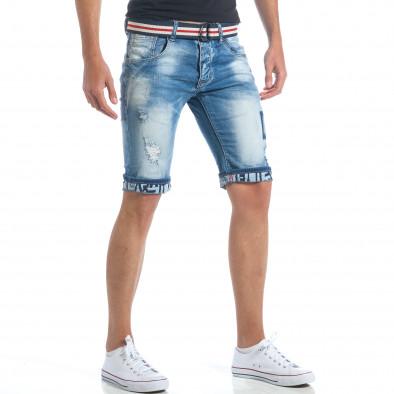 Мъжки къси дънки с текстилен колан it190417-64 4
