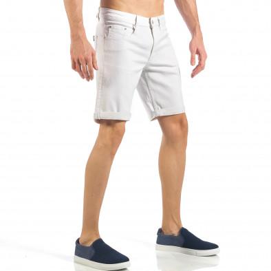 Мъжки бели къси дънки с маншети it260318-122 4