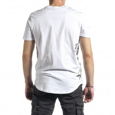 Мъжка бяла тениска страничен принт tr270221-51 3