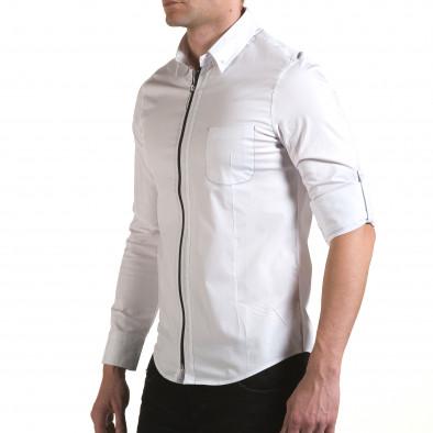 Мъжка бяла риза с цип il170216-91 4
