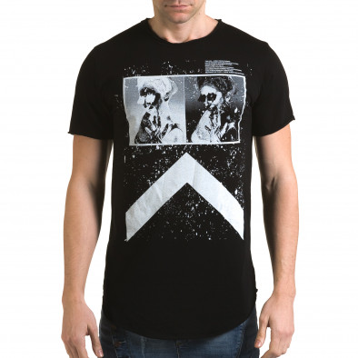 Мъжка издължена черна тениска с як принт it090216-73 2