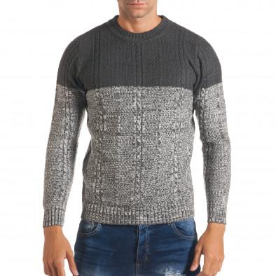 Мъжки сив зимен пуловер с релефна плетка it170816-31 2