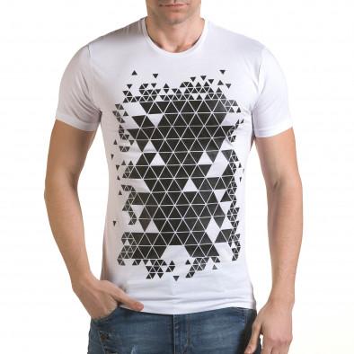 Мъжка бяла тениска с фигуралнен принт SAW 4