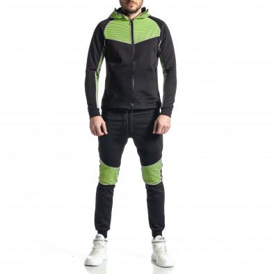Мъжки черно-зелен анцуг Biker style it010221-58 2