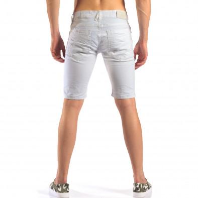 Мъжки бели къси дънки със скъсвания it160616-19 3