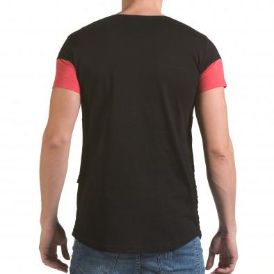 Мъжка черна тениска с розова лента il170216-76 3