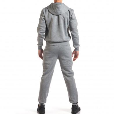 Мъжки сив спортен комплект с 2 ленти отпред it160916-85 3