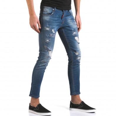 Мъжки сини дънки слим с прокъсвания и шевове it160316-3 4