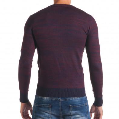Мъжки лилав пуловер с обло деколте it170816-13 3