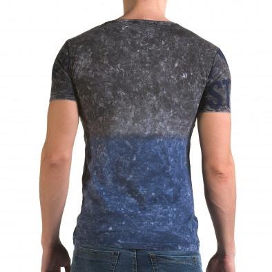 Мъжка синьо-сива тениска с надписи il120216-24 3