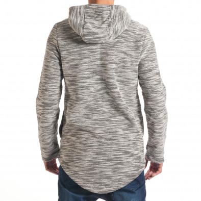 Мъжки светло сив суичър с декоративни скъсвания it240816-44 3