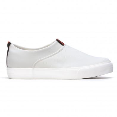 Мъжки бели текстилни кецове без връзки It050216-11 2