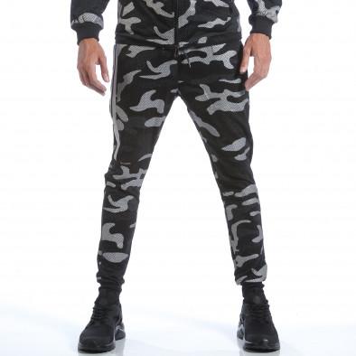 Мъжки спортен комплект черно-сив камуфлаж it160817-70 5