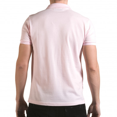 Мъжка розова тениска с яка с надпис Franklin NYC Athletic il170216-36 3