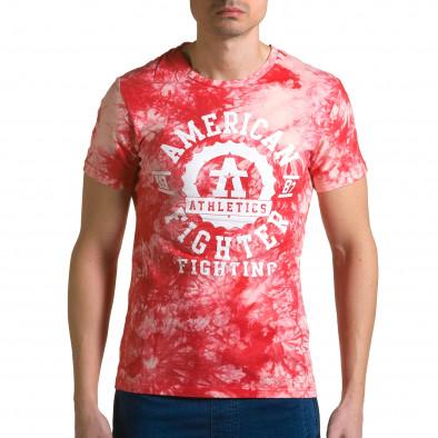 Мъжка червена тениска с бял принт отпред ca190116-44 2